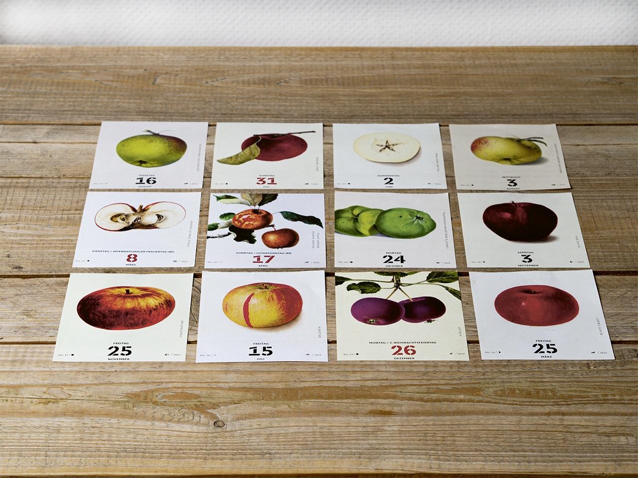 Beispielbild vom neuen Apfelkalender 2022